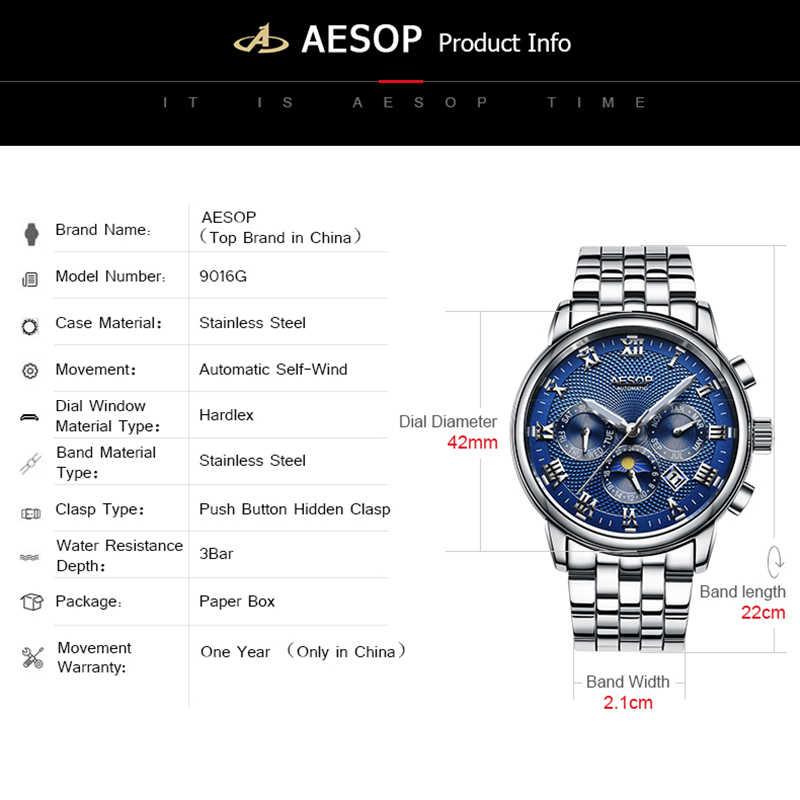 AESOP montres automatiques homme montre mécanique bleu acier inoxydable montre bracelet homme horloge hommes homme Relogio Masculino A