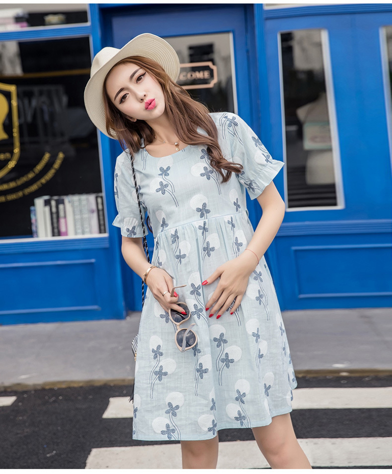 7e74646c673 Maternity Elegant Plus Nursing Dresses for Pregnant Summer Dandelion Print  Defined High Dresses Pregnancy Cute Clothes 2 Colors-in Dresses from Mother  ...