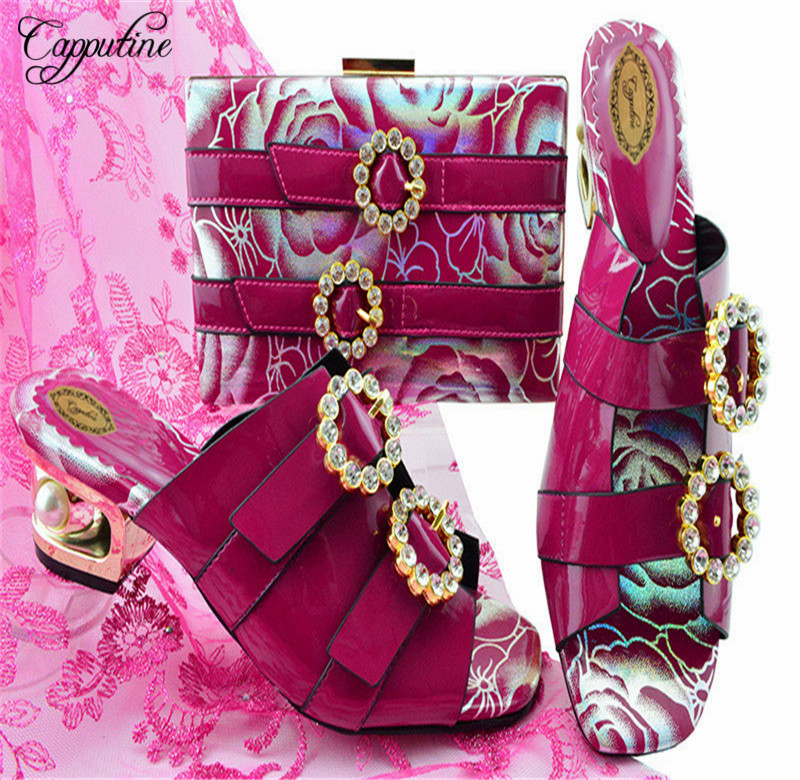 Capputine New Arrival PU Leather Shoes And Bag Set Italian Style Middel Heels Shoes And Bag Set For Wedding Dress YK1064