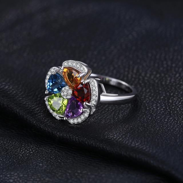Flower Natural Amethyst Citric Garnet Period Topaz Ring 925