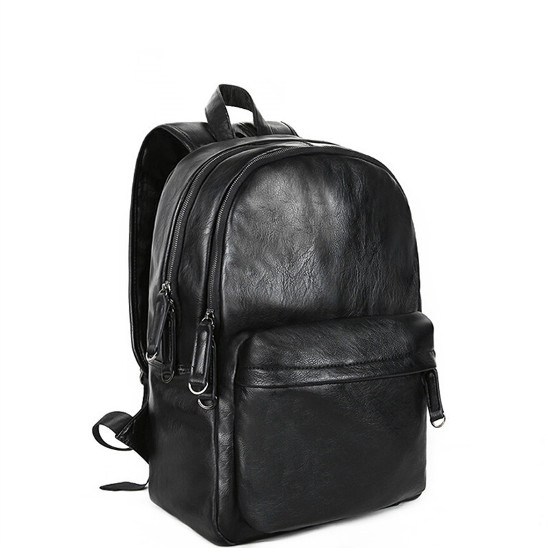 Solid Backpack For Men Fashion Leather Backpacks Waterproof Anti-theft Bag College Teenager SchoolBag Laptop Backpack Sac ASolid Backpack For Men Fashion Leather Backpacks Waterproof Anti-theft Bag College Teenager SchoolBag Laptop Backpack Sac A