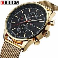 Relógio de pulso à prova dwaterproof água relógio de pulso masculino relógio de quartzo ouro esportes casual curren 8227|Relógios de quartzo| |  -