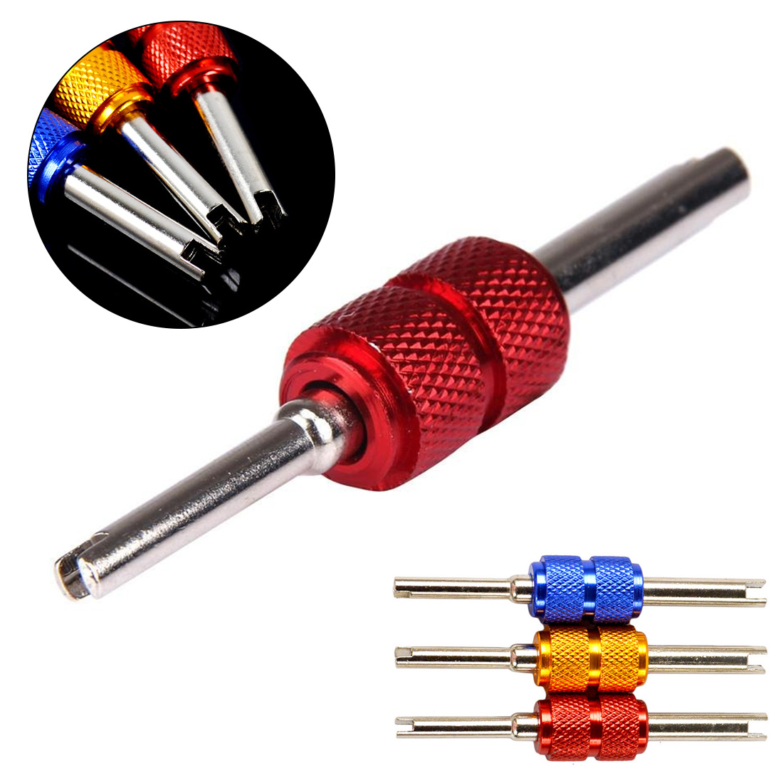 Two-purpose Double-headed Car Air-conditioning Valve Core Key Threading Door Core Tool Tire Valve Core Disassembly Wrench