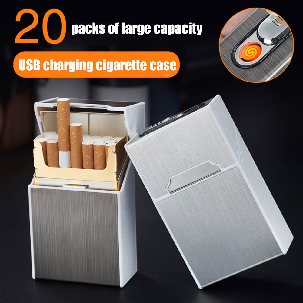 2-in-1 Cigarette Case Box Charging lighter Touch induction windproof electronic ultra-thin USB cigarette lighter custom Metal X