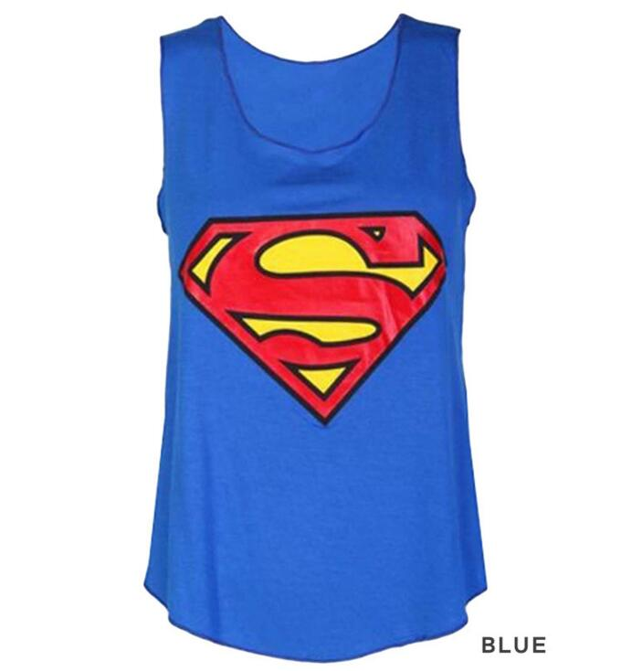 2018 Summer Fashion Women O-Neck T-Shirts Superman Batman Sleeveless Tops Size:S-XL For Choose Free Shipping 1PCS