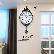 European Style Swingable Round Wall Clock Modern Design Vintage Hanging Clocks Wall Pendulum Clock Living Room Free Shipping free shipping 60058s modern european style electroplated egg round shape 3d dot pendant lamp