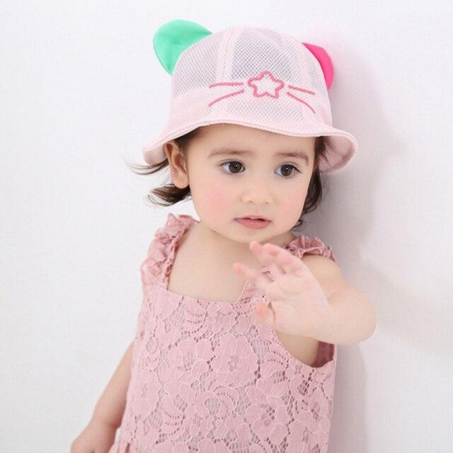 03ef23a0c81 Kids Toddlers Baby Girls Sun Hat Summer Mesh Bucket Cap Cartoon Hat for girl  beach caps