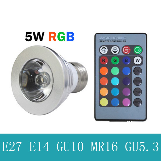 5 W E27 RGB LED Lamp 16 kleuren veranderen stage lamp Dimbare led ...