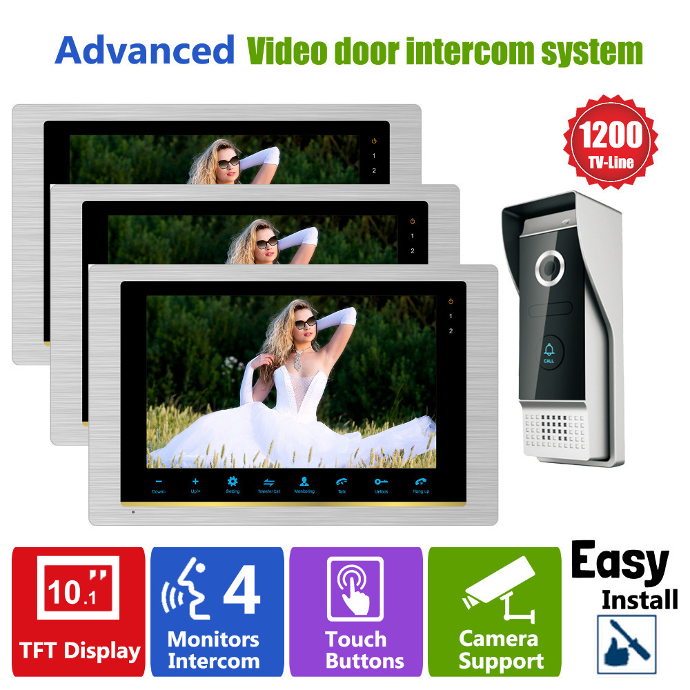 Homefong Video Intercom Door Phone High Resolution Intercom System Night Visual Inter-conversation Doorbell 1V3 Door Entry homefong 4 inch monitor lcd color video record door phone doorbell intercom system night vision 1200tvl high resolution