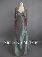 Custom Made Vestido Mae Da Noiva Free Jacket Brown Taffeta Beading Lace Mother Of The Bride