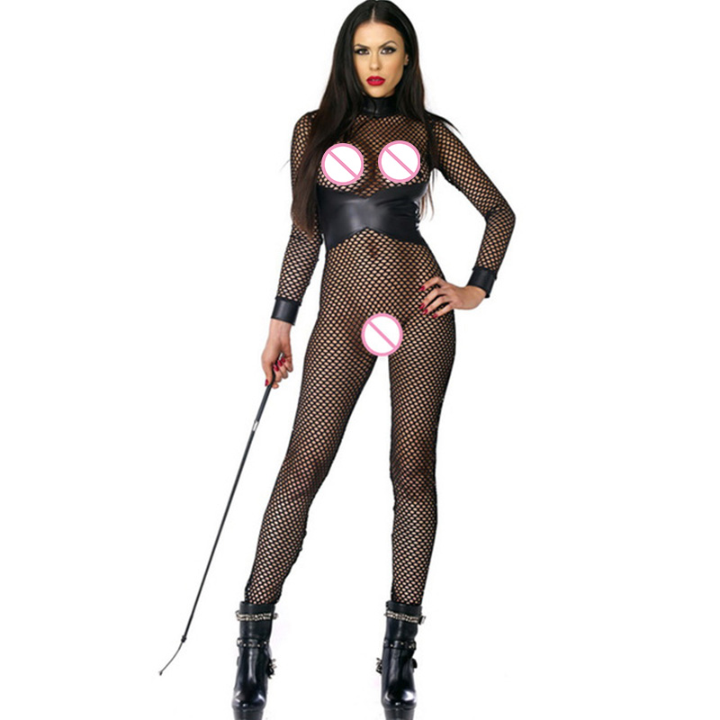 New Stylish Body Suit Women Black Mesh Leather Patchwork Fishnet Transparent Long Jumpsuit Sexy Club Pole Dance Jumpsuit