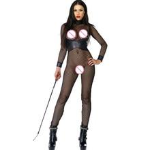 dc49c1f8ad267 Amore Paradise Stylish Body Suit Women Black Mesh Leather Patchwork Fishnet
