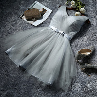 FOLOBE 5 Styles Girls Vestidos Grey Summer Dresses Elegant Vintage Pleated A Line Evening Party Dress