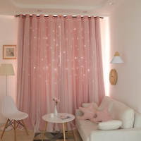 Soft Curtains Fashion Hollow Curtains for Bedroom Blackout Double Window Treatments Washable Drape Panel Korean Style