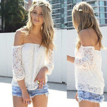 New Fashion Sexy Blouses Slash Neck Lace Shirt White Off-shoulder Casual Tops