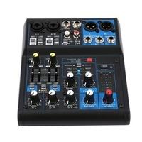 Power Audio DJ Mixer EU Plug 4 Channel Professional Power Mixing Amplifier USB Slot 16DSP +48V Phantom Power for Microphones
