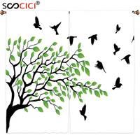Tratamentos de janela Cortinas 2 Painéis, Pássaros Voando Decoração Da Árvore Da Mola com Silhueta de Flyind Aves Vento Liberdade Projeto Da Paz
