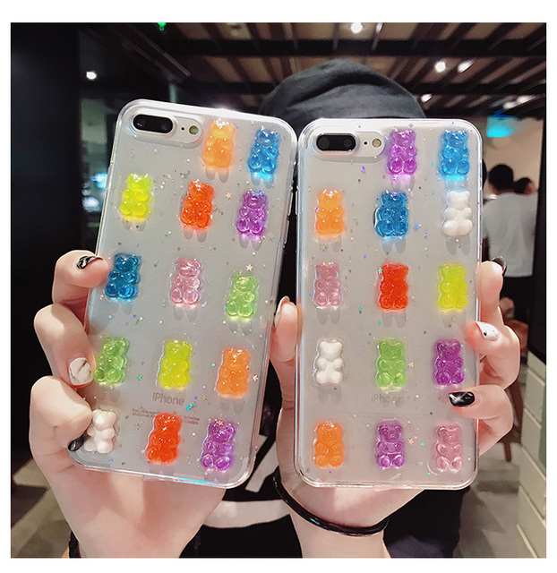 Cute 3D Candy Bear Transparent Glitter Cover for iPhone X XS Max XR Soft  Silicon Case Fundas for iPhone 8 7 6S Plus Capa Hoesjes cd8840c68b5d