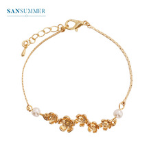 Sansummer 2019 New Hot Fashion Flower Pearls Golden Girl Bracelet For Women Vantage Style Bohemia Statement Jewelry 5444