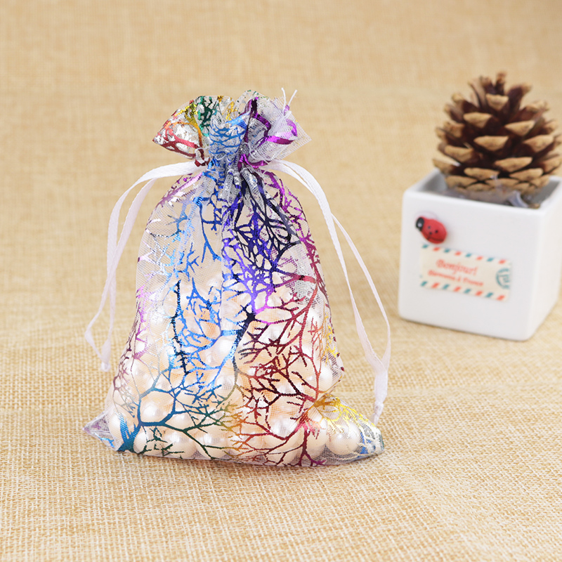 100Pcs Sheer Organza Wedding Party Jewelry Candy Bag Packaging Pouches 12X9CM