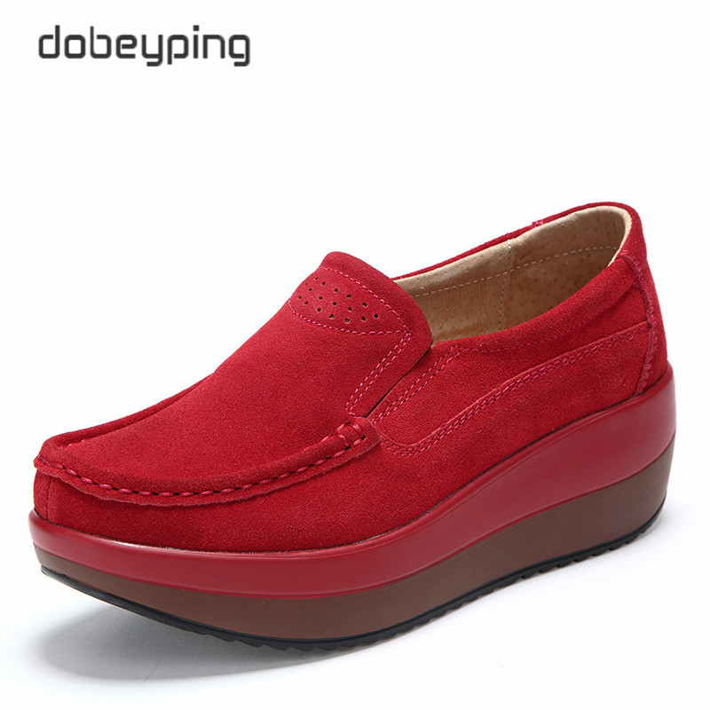 2018 New Spring Autumn Shoes Woman Cow Suede Leather Flat Platform Women Shoes Slip On Women's Loafers Moccasins Female Shoe dekabr new 2018 men cow suede loafers spring autumn genuine leather driving moccasins slip on men casual shoes big size 38 46