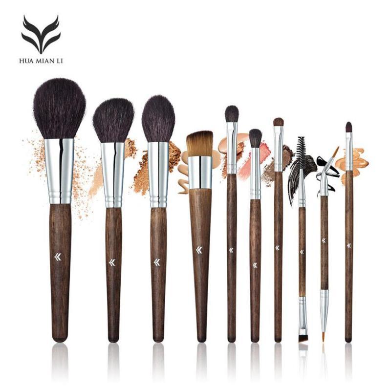 HUAMIANLI 10pcs/set Professional Makeup Brushes High Quality Eyeshadow Eyeliner Face Foundation Blending Brush Make Up Tool W3