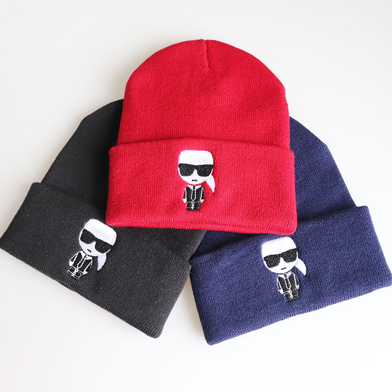 Cartoon Karl Lagerfeld Lovely   Beanies   Hat Skiing Hat Warm Casual Knitted Hat Mens Women