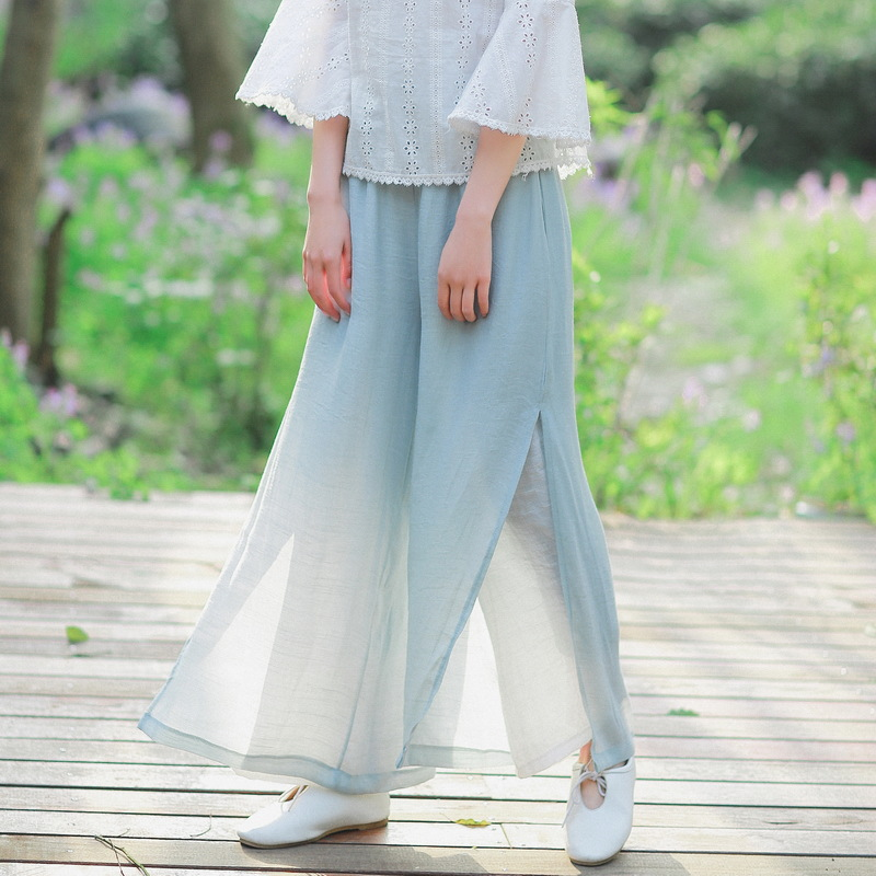 Summer Cotton Linen Retro Casual   Pants   Matching Thin Vintage Elegant Light Blue See Through Trousers Double Layer   Wide     Leg     Pants