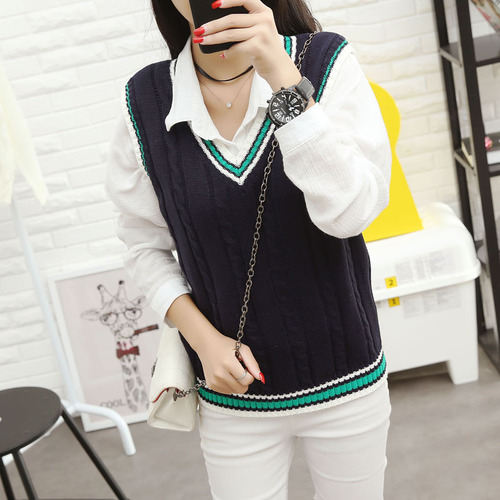 Autumn 2019 Women Korean Preppy Style Vintage Striped V Neck - Women's Clothing - Photo 1