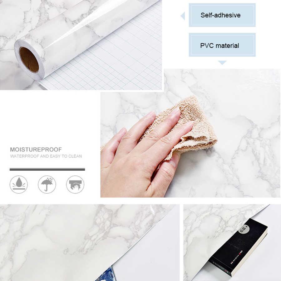 Papel de parede de vinil para cozinha, rolo de mármore, adesivo decorativo à prova d'água, decoração de casa