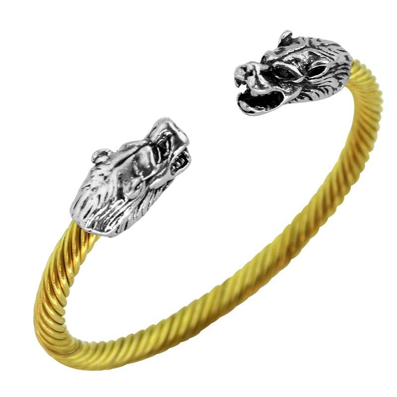 19 Types Viking Bracelets & Bangles Leading Opening Two Headed Wolf Bracelet Punk Vintage Jewelry for Mens Women Boyfriend Gift