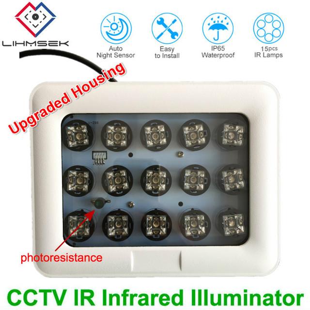 Lihmsek Long distance 100M 850nm infrared 15pcs high power IR LED illuminator Infrared assistant light for CCTV LPR ANPR Camera
