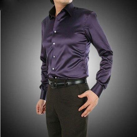 2017 Темно-фиолетовый Роскошные жених рубашка мужчины с длинным рукавом свадебные футболки мужские партии Искусственный шелк рубашки платья М-3XL 21 цветов F