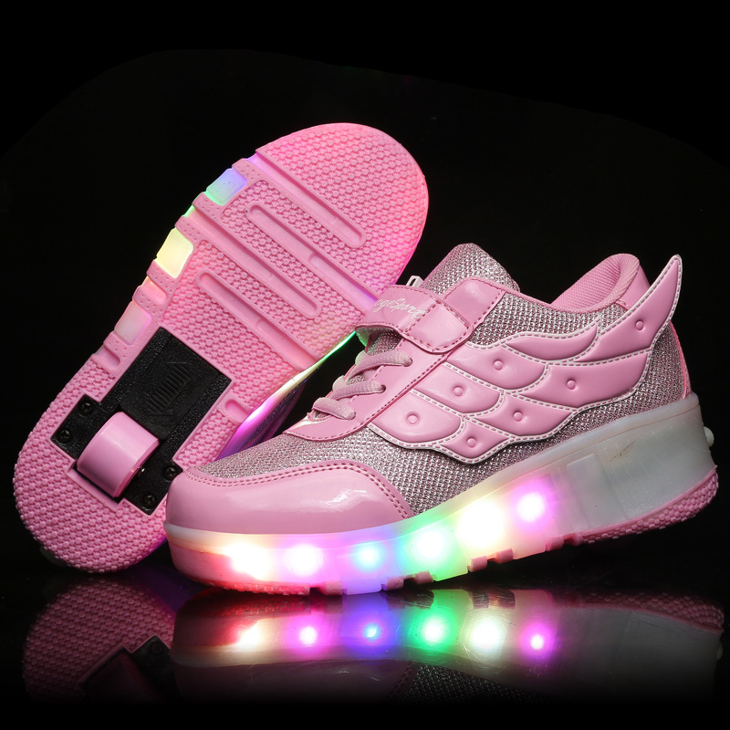 цена на Kids Girls Shoes Children Heelys Roller Shoes Kids Sneakers with Wheels Boys LED Light Up Shoes Zapatillas Deportivas Hombre