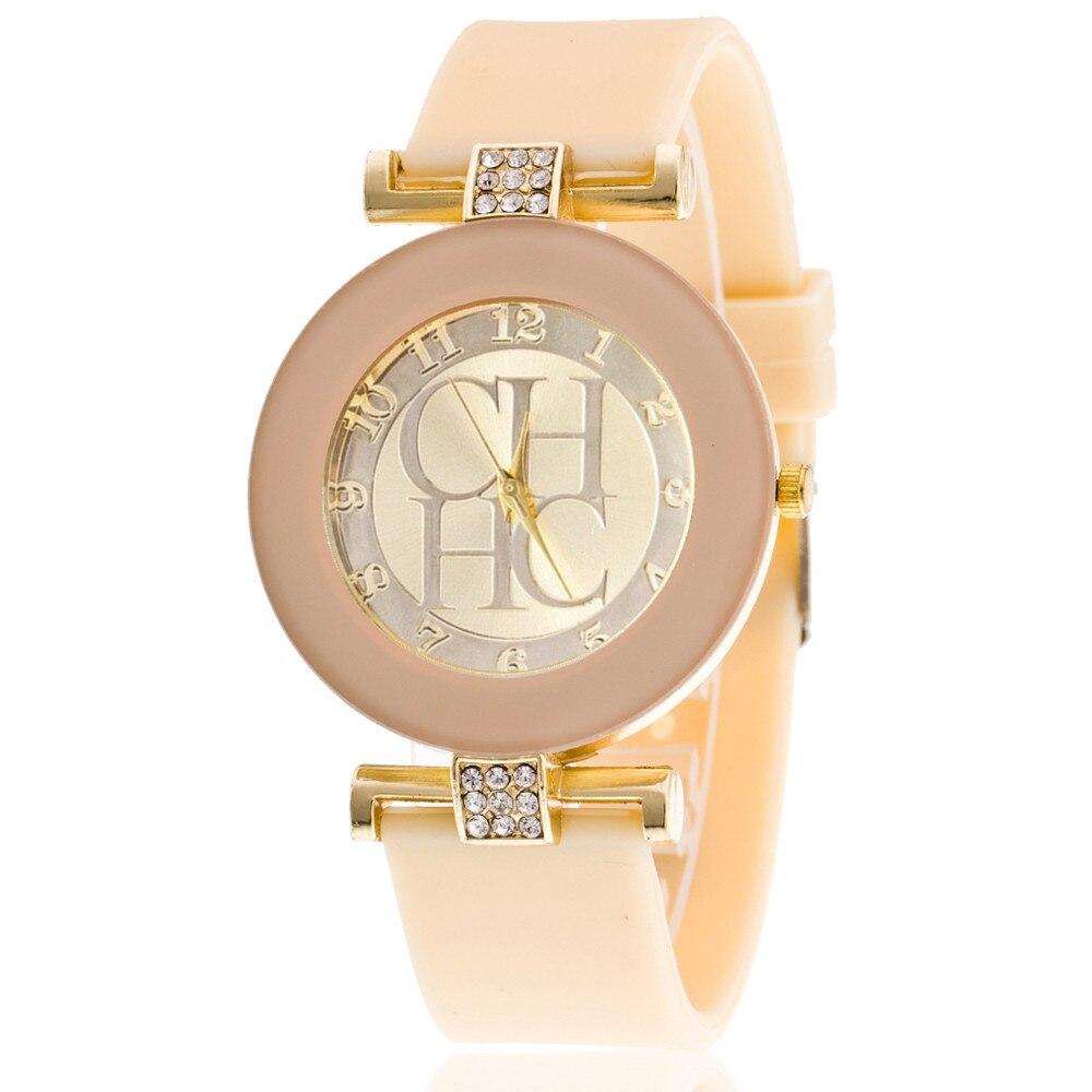 d4512e84056 2018 Hot sale Da Moda Preto CHHC Mulheres relógios de Cristal de Quartzo  Silicone Genebra Casual