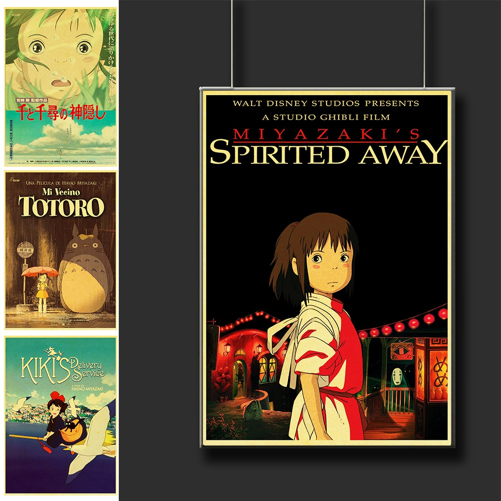 Vintage Hayao Miyazaki Classic Anime Posters Spirited Away Wall Decor For Kids Room Decoration Printed Painting Wall Sticker