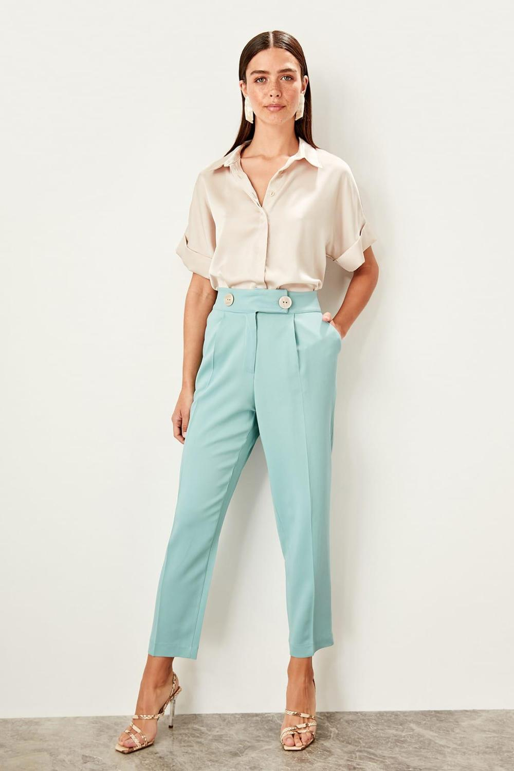 Trendyol Mint High Waist Jacket And Pants Suit  Pants TWOSS19AP0106