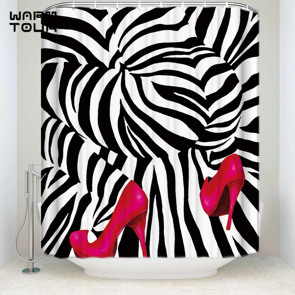 Waterproof Bath Shower Curtains Fashion Zebra Pink High Heels