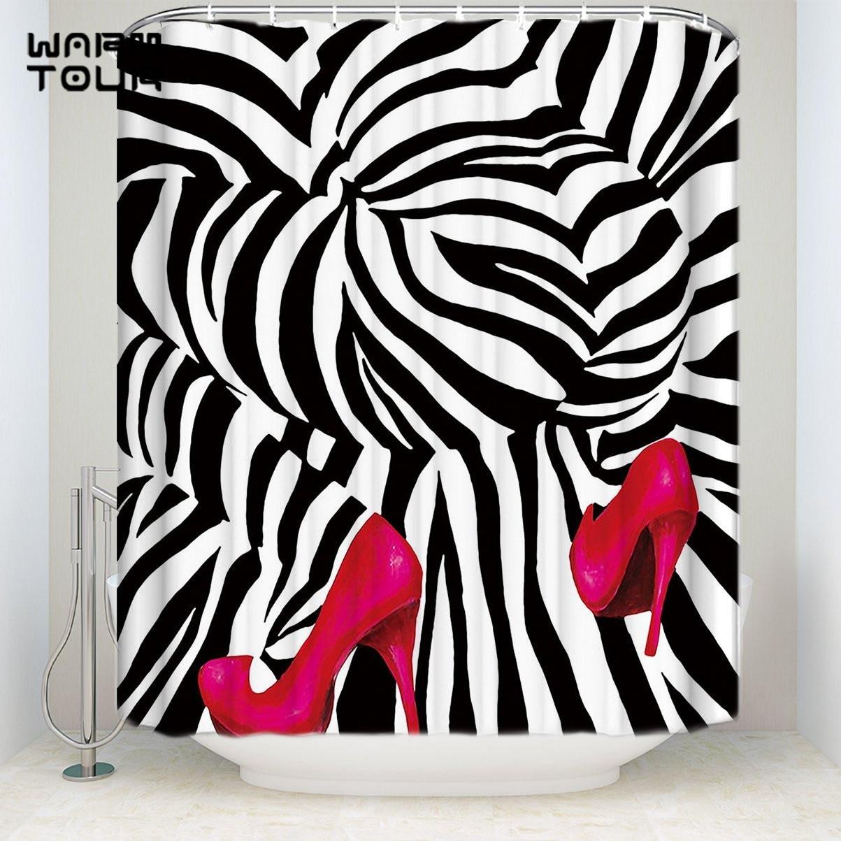 Hot Pink Zebra Bathroom Accessories: Bath Shower Curtains Fashion Zebra Pink High Heels Print