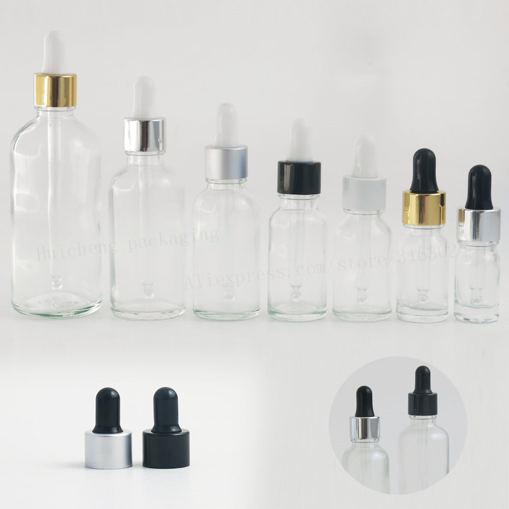12 X 1/2oz  Empty Clear Glass Dropper Bottles 1oz Transparent Oil Glass Piepette Dropper Container 5ml 10ml 20ml 30ml 50ml 100ml
