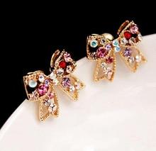 Brinco Limited Trendy Zinc Alloy Women Animal Earings 2017 New Fashion Rhinestone Colorful Bow Earrings Jewelry Xy-e725
