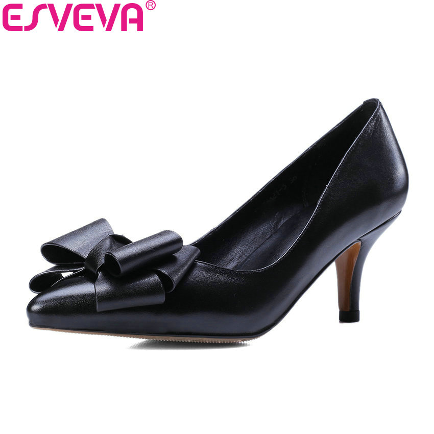 ESVEVA 2018 Women Pumps Sweet Style Cow Leather PU Slip on Butterfly-knot Thin High Heels Pointed Toe Ladies Shoes Size 34-39 nesimoo 2018 women pumps pointed toe thin high heel genuine leather butterfly knot ladies wedding shoes slip on size 34 39