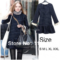 2013 Autumn Winter New Women In Europe Brand Skirt Thin Wild Plaid Slim Long Sleeved Dress