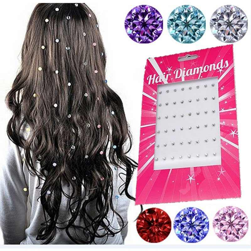 2 Bags New Stylish Beautiful Hot Drilling Crystal Hair Rhinestone Hairdressing Supplies Hair Accessories