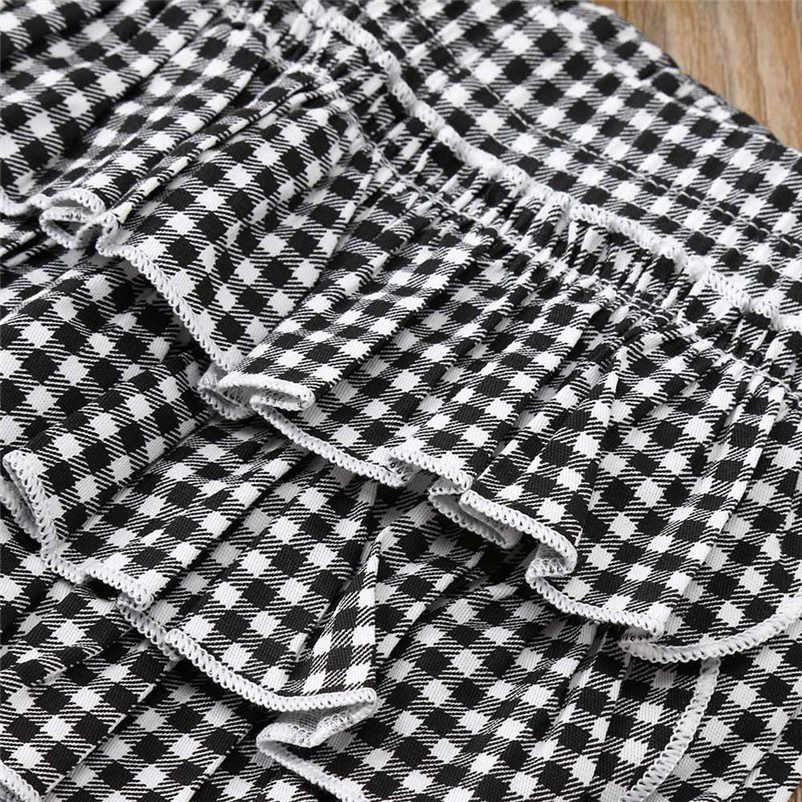 33dc811b5c2c4 ... 2018 New Toddler Kids Baby Girl clothes Ruffle long sleeve Tops + plaid  Pants Leggings +