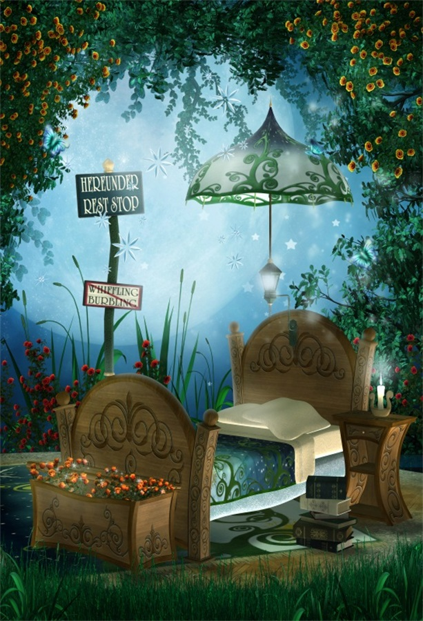Laeacco Fairytale Moon Night Flowers Forest Bed Scene