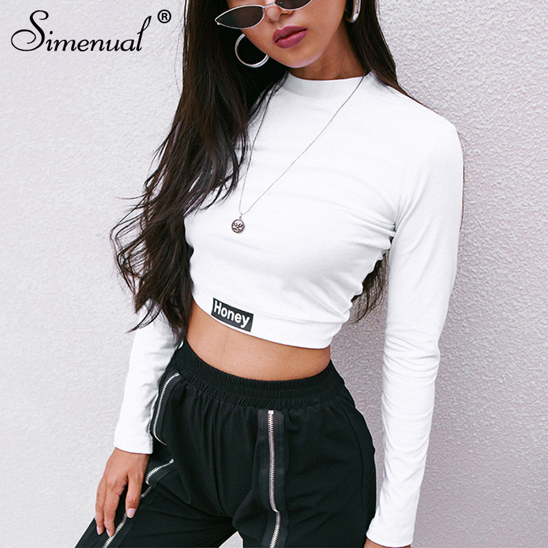 Simenual Fashion Autumn 2018 Female T-shirt Crop Top Letter Print White Tshirt Slim Sexy Turtleneck Long Sleeve T-shirts Women