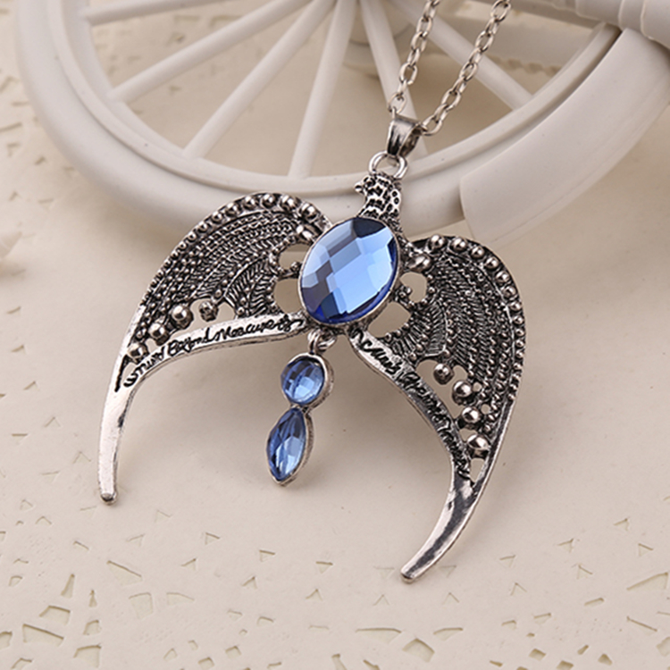 1pc Ravenclaw Unisex Sweater Chain Necklace Silver Plated Eagle Diadem Rhinestone Pendant for Retail