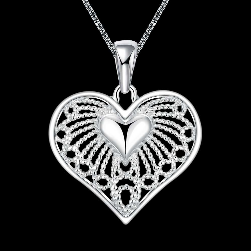 Original Top Quality Solid 925 Sterling Silver Lovely Romantic Heart Shape Design Pendant Necklace For Women Ladies Jewelry Gift