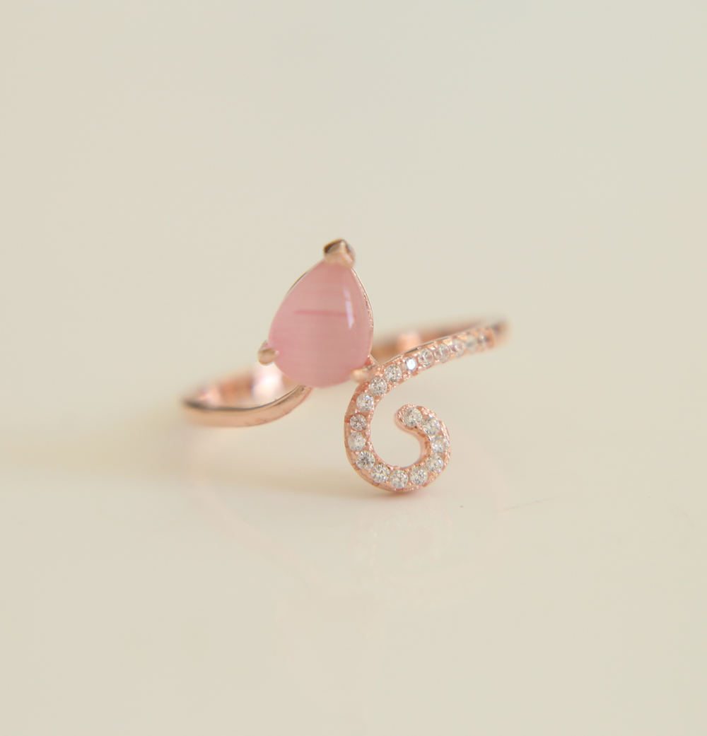 Hot Sale 925 Silver rose gold color factory promotion stock pink stone women ladies jewelry rings